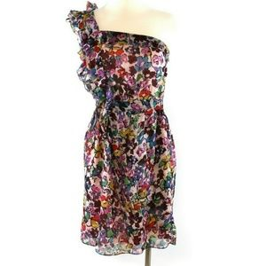Miss Me Dress Medium Silk Purple Pink One Shoulder